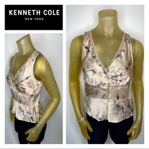 KENNETH COLE Silk Floral Lace Cami Tank 6 Petite